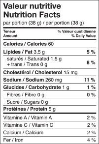 tableau valeurs nutritives